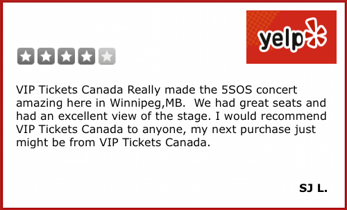 VIP Tickets Canada Yelp Review